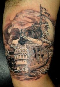 Ghost Pirate Ship Tattoo