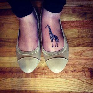 Giraffe Tattoo on Foot