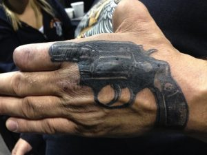 Gun Tattoo on Hand