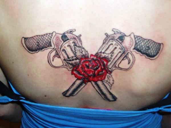 Gun tattoos designs ideas and meaning tattoos for you for Gun tattoos for girls