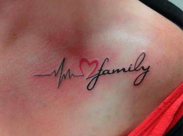 Heartbeat And Heart Tattoo Design