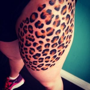 Leopard Print Thigh Tattoo
