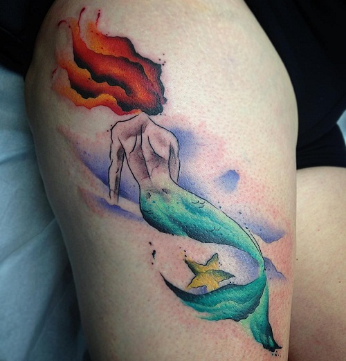 little mermaid tattoos designs ideas and meaning. Black Bedroom Furniture Sets. Home Design Ideas