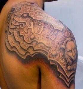 Medieval Shoulder Armor Tattoo