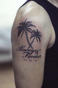 Palm Tree Tattoos on Shoulder