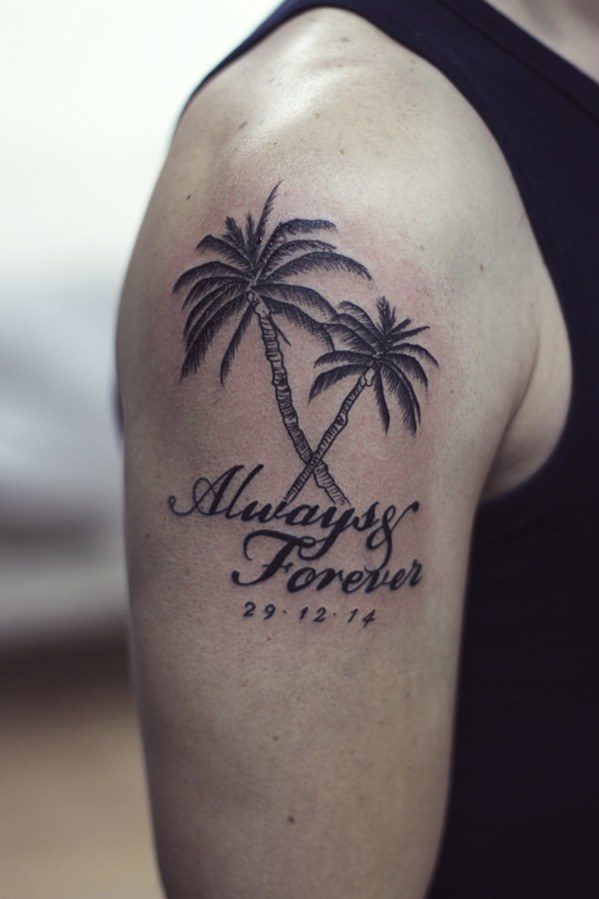 Palm tree tattoos designs ideas and meaning tattoos for you for Tree shoulder tattoo
