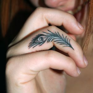 Peacock Feather Tattoo Black and White