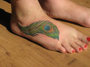 Peacock Feather Tattoo on Foot