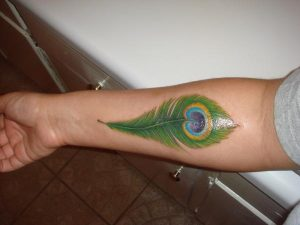 Peacock Feather Tattoo on Hand