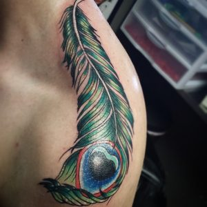 Peacock Feather Tattoo on Shoulder