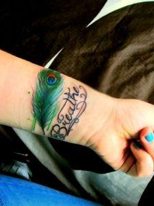 Peacock Feather Tattoo on Wrist