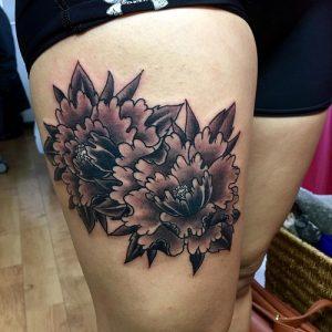 Peony Tattoo Black and Grey