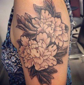 Peony Tattoo Black and White