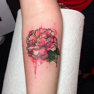 Peony Watercolor Tattoo