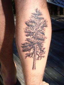 Pine Tree Tattoo Leg