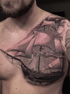 Pirate Ship Chest Tattoo