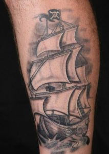 Pirate Ship Leg Tattoo