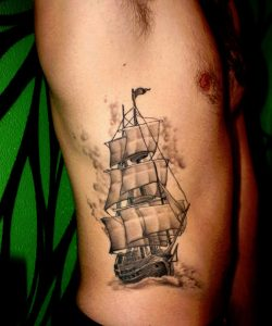 Pirate Ship Rib Tattoo