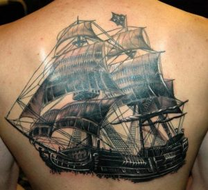 Pirate Ship Tattoo Back