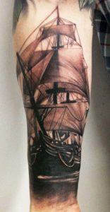 Pirate Ship Tattoo Forearm