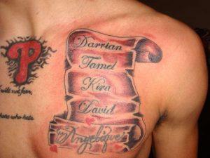 Scroll Chest Tattoos