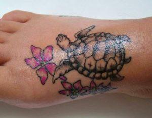 Sea Turtle Tattoos on Foot