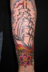 Ship Tattoo Forearm