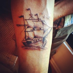 Small Pirate Ship Tattoo