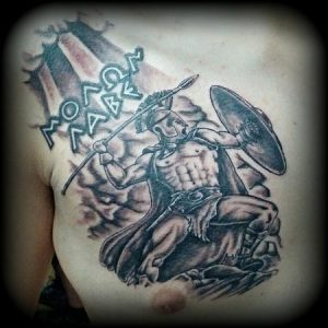 Spartan Chest Tattoo