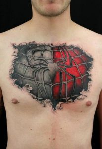 Spiderman Tattoo on Chest