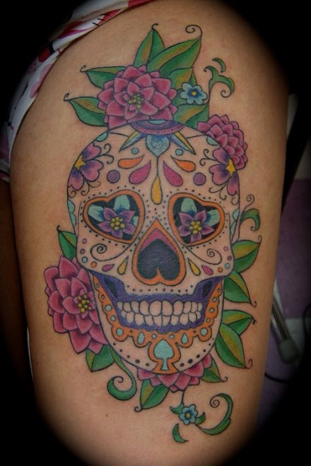 Candy skull tattoos designs ideas and meaning tattoos for Candy skull tattoo