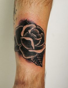 Traditional Black Rose Tattoo