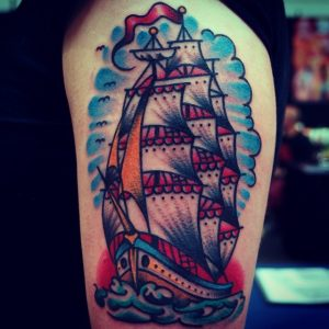Traditional Ship Tattoo