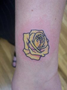 Yellow Rose Tattoo on Wrist