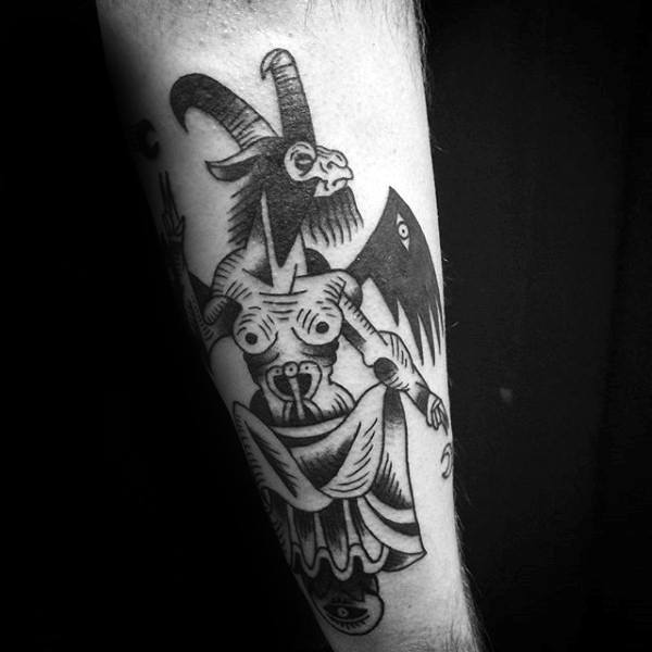 baphomet tattoo tattoos forearm designs mens macabre meaning arm wings dark ink