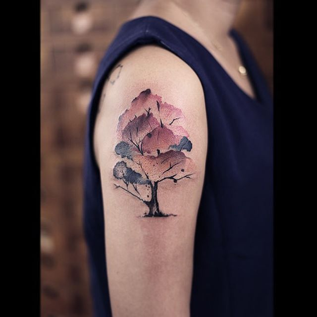 Watercolor tree tattoo designs ideas and meaning for What does a tree tattoo mean