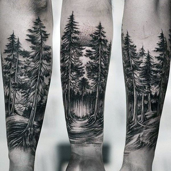 27 Awesome Picturesque Landscape Tattoo Designs: Forest Sleeve Tattoo Designs, Ideas And Meaning