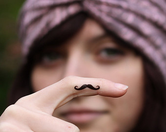 mustache finger tattoo designs ideas and meaning