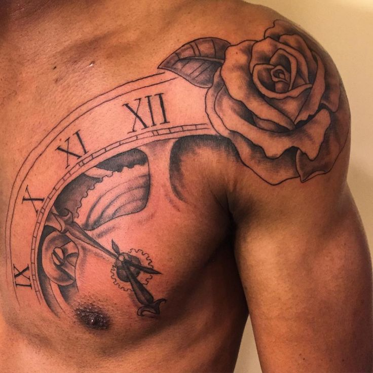Shoulder tattoos for men designs ideas and meaning for Rose tattoo on back shoulder