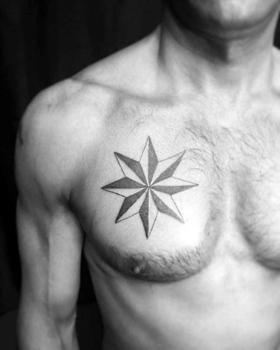 Star tattoos for men on chest