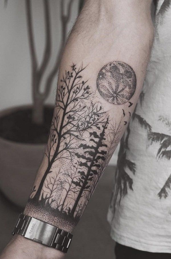 forearm forest tattoo designs ideas and meaning tattoos