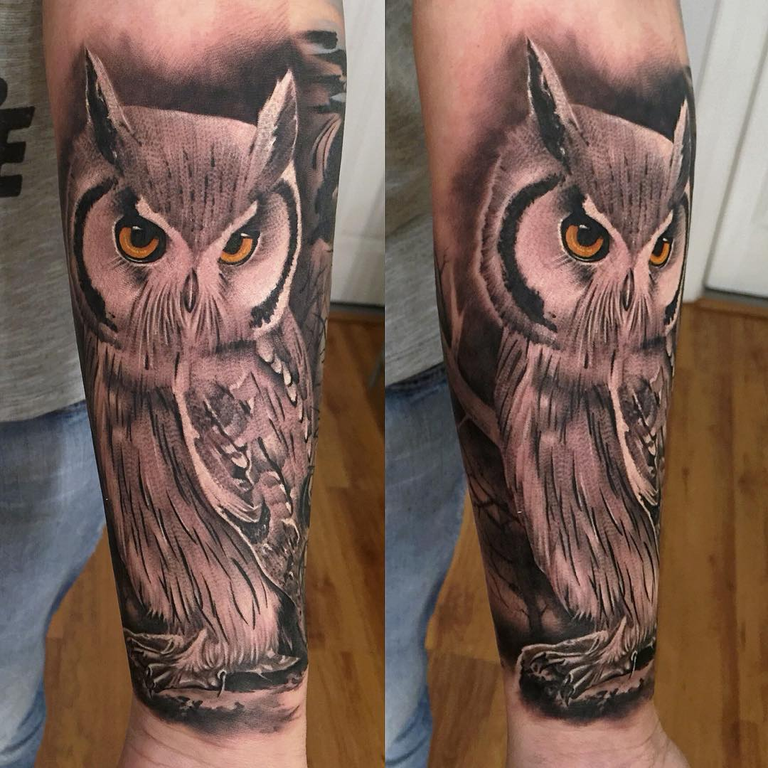 Owl tattoo on forearm designs ideas and meaning tattoos for Owl tattoo designs