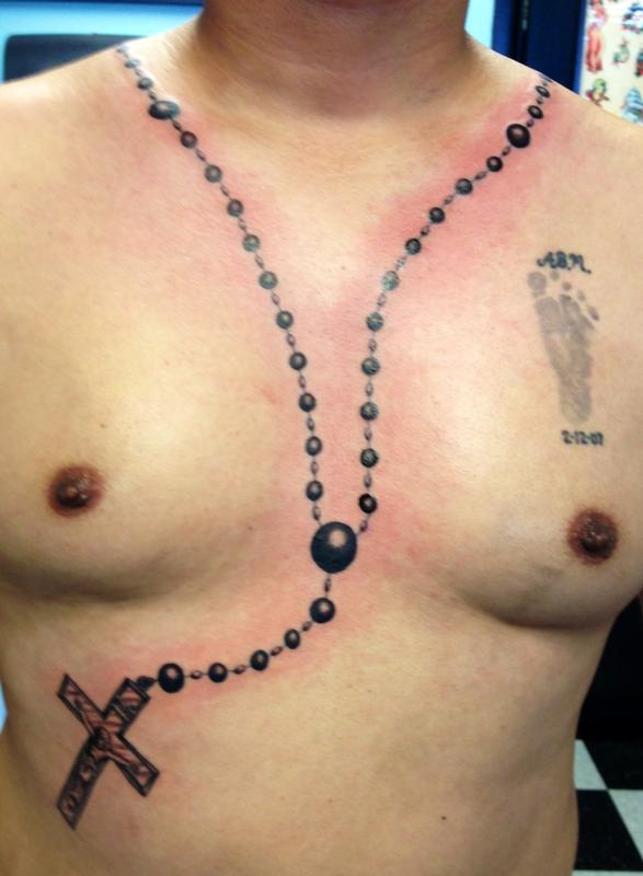 Rosary Beads Tattoo Chest
