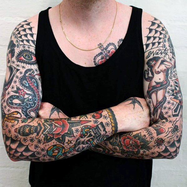 Traditional tattoo sleeve designs ideas and meaning for American classic tattoos