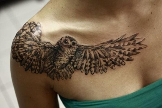 Owl chest tattoo designs ideas and meaning tattoos for you for Chest tattoos for women designs