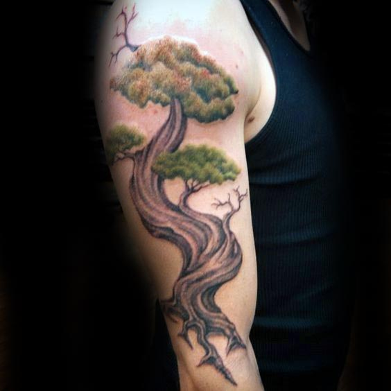 3df8cac386aee Tree Sleeve Tattoo Designs, Ideas and Meaning | Tattoos For You