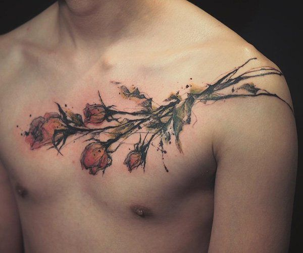 Chest Tattoos For Men Designs Ideas And Meaning: Rose Chest Tattoo Designs, Ideas And Meaning