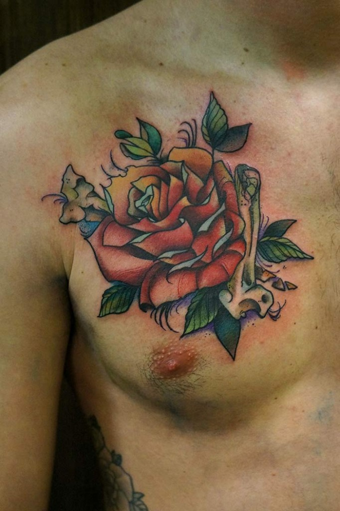 Rose Chest Tattoo Designs Ideas And Meaning Tattoos For You