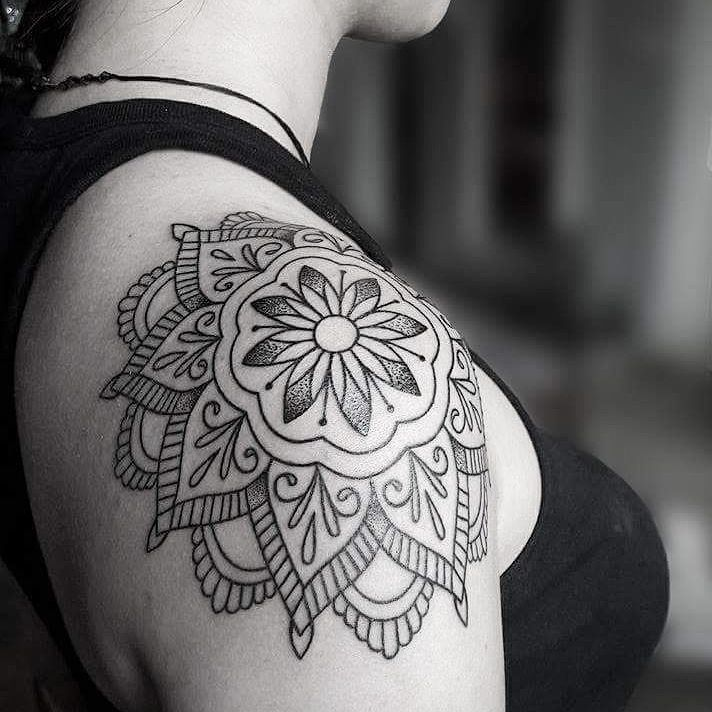 mandala shoulder tattoo designs ideas and meaning tattoos for you. Black Bedroom Furniture Sets. Home Design Ideas