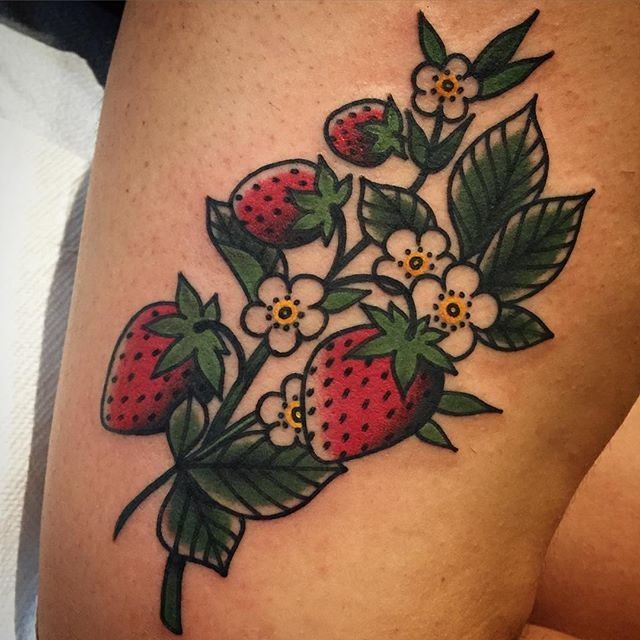 strawberry tattoo designs ideas and meaning tattoos for you. Black Bedroom Furniture Sets. Home Design Ideas